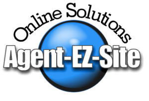 Agent EZ Site logo. White background with blue globe, and black, and white text